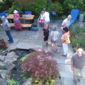 Open Garden scene with patio and pond