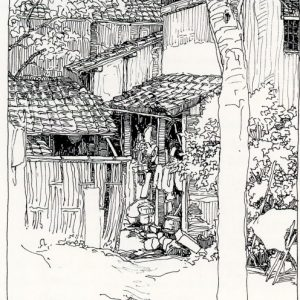 Ink drawing by B.Y. Morrison of the Village of Shinkakuji
