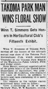 Winn T. Simmons Wins Floral Show column The Evening Star