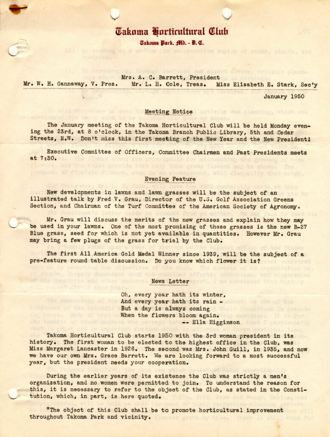 Meeting minutes, THC 1950